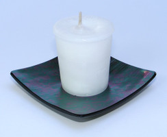 Multi-Colored Iridescent Square Glass Candle Holder