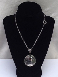 "OM Pendant on 16"" Silver Plated Chain by Imogen Designs"