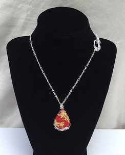 "Red and Gold Howlite Stone Pendant on 18"" Silver Plated Chain by Imogen Designs"