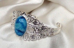 Silver Brass Bracelet with Blue Agate by Imogen Designs~Calming