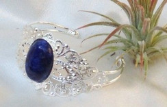 Silver Brass Bracelet with Sodalite Stone by Imogen Designs