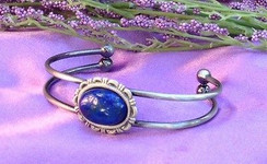 Silver Plated Bracelet with Lapis Lazuli by Imogen Designs~Peace