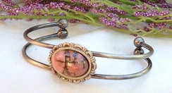 Silver Plated Bracelet with Rhodonite by Imogen Designs