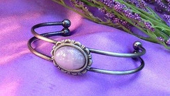 Silver Plated Bracelet with Rose Quartz by Imogen