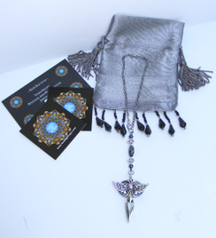 Protection Car Charm for Rear View Mirror- Tibet Silver Cross with Angel Wings & Powerful Hematite Stone by Imogen
