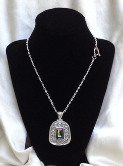 Antique Rainbow Mystic Topaz Silver Plated Pendant & Chain by Imogen Designs 2016 Line