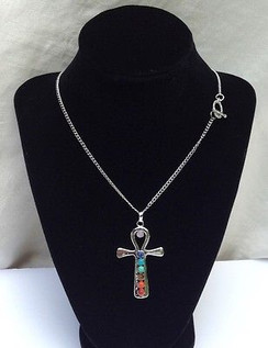 "7 Chakra Gemstones Ankh Pendant on 18"" Silver Plated Chain by Imogen Designs"