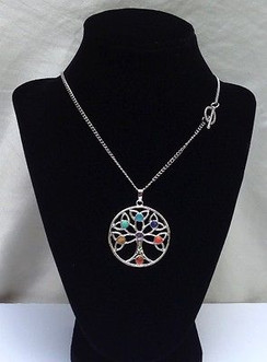 "7 Chakra Gemstones Tree of  Pendant on 18"" Silver Plated Chain by Imogen Designs"