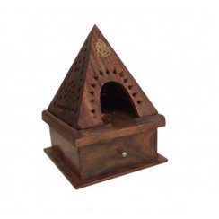 "Wood Pyramid Cone Incense Burner w/ Storage Ganesha 6"" x 4"""