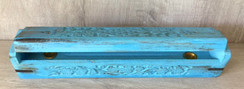 "Blue Antiqued 12"" Wooden Coffin Cone & Stick Incense Burner"