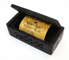 """Small Wooden Resin Incense Box 4.25"""" x 2"""" and 1.5"""" High and Amber Resin!"""