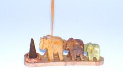 "Beautiful Hand Carved Soapstone Elephant Cone & Stick Incense Burner 4.5"" x 1.5"""