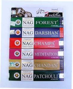 Golden Nag Hand Rolled Incense Gift Pack 15g x 7= 105g ~Premium Incense Sticks~