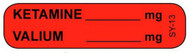 SY-13 Syringe Label - Ketamine/Valium