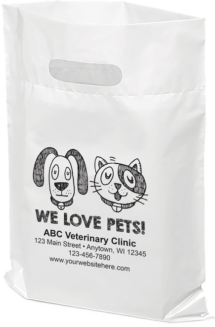 """PTL6 - Personalized Plastic Tote Bag - 12"""" x 15"""""""