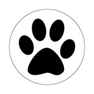 "LRPAW - 1"" Clear Sticker with Black Pawprint"