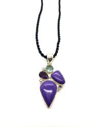 Purple Sugalite, Amethyst, Blue Topaz CONDUCTIVE Silver Pendant