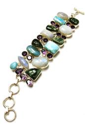Seraphinite, Amethyst, Moonstone & Larimar CONDUCTIVE Silver Bracelet