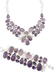 Amethyst & Pearl Conductive Silver FANCY GEMSTONE THERAPY JEWELRY SET
