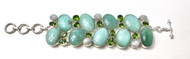Chalcedony, Green Quartz and Moonstone CONDUCTIVE SILVER Bracelet