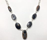 Pietersite CONDUCTIVE SILVER Necklace