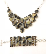 Septarian Amber Quartz CONDUCTIVE SILVER Set