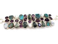Seraphinite, Shattuckite, Amethyst & Moonstone CONDUCTIVE SILVER Bracelet
