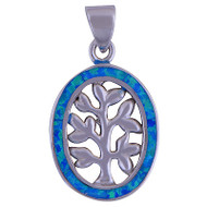 Sterling Silver Opal Tree Pendant