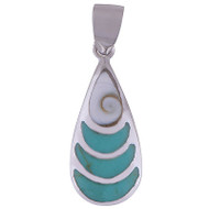 Fibonacci Waves Turquoise Sterling Silver 1.7 Gram Pendant