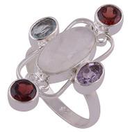 Moonstone, Topaz, Amethyst & Garnet Size 8 Ring
