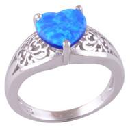Opal Heart Ring Size 6