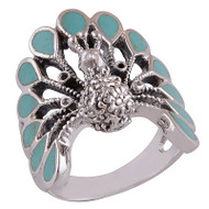 Turquoise Peacock Ring Size 6.5