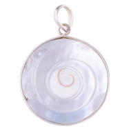 Fibonacci Swirl Set in Shell and Sterling Silver Round Pendant