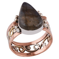 Labradorite Raindrop, Silver, Copper & Brass Ring Size 10