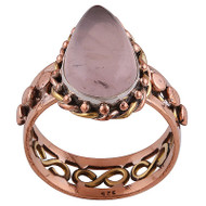 Rose Quarts Silver, Copper and Brass Ring Size 10