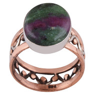 Ruby Zoisite Silver, Copper and Brass Ring Size 9.5