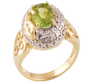 Real Gold Plated Silver Peridot Ring Size 6