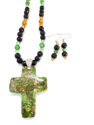 Green Copper Turquoise Cross Necklace & Earrings