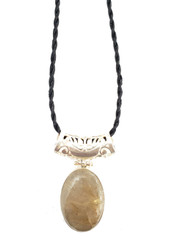 Golden Rays Rutilated Quartz CONDUCTIVE SILVER Pendant