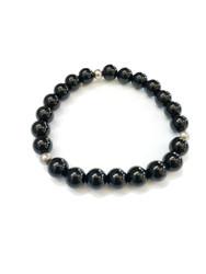 Black Onyx and Sterling Silver Stretchy Bracelet
