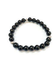 Black Onyx and Sterling Silver Stretchy Bracelet