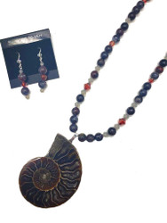 Ammonite Fossil Necklace and Earrings Set
