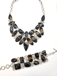 """Banded """"Root Beer"""" Agate & Clear Quartz Conductive Silver Set"""