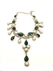 Emerald Pearl Drops Necklace