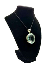 Blue Crystal Quartz Faceted Pendant