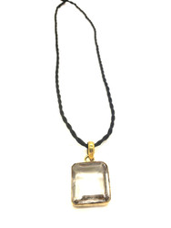 Clear Quartz Gold Coated Silver Pendant