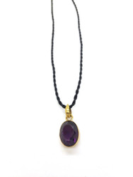 Deep Amethyst Gold Layered Pendant