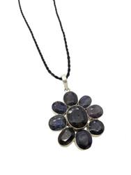 India Sapphire Daisy Pendant