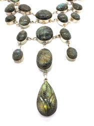 Carved Leaves on Labradorite Necklace