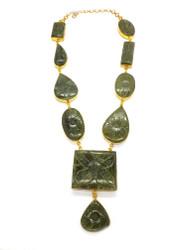 Flower Carved Jade Necklace
